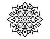 Desenho de Mandala flor simple para colorear