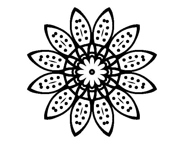 Desenho de Mandala flores com pétalas para Colorir