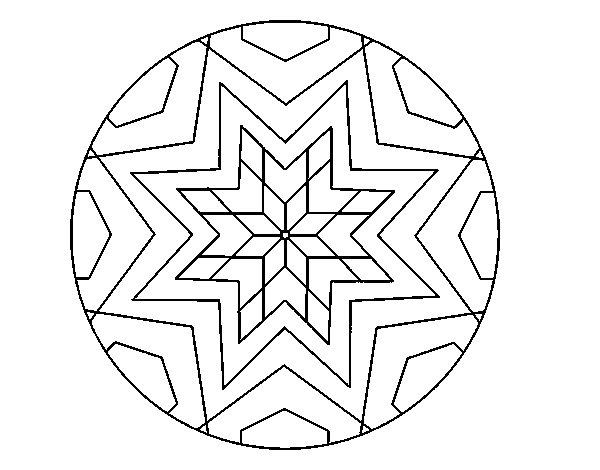 Desenho de Mandala mosaico estrela para Colorir