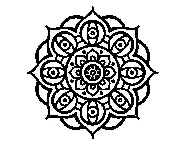 Desenho de Mandala olhos para Colorir
