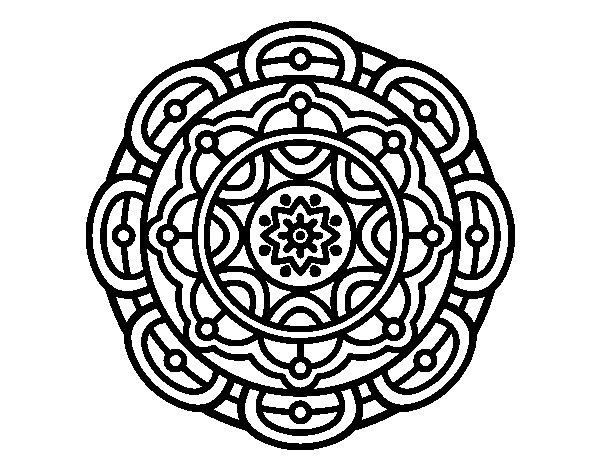 Desenho de Mandala para relaxamento mental para Colorir