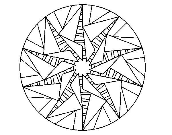 Desenho de Mandala sol triangular para Colorir