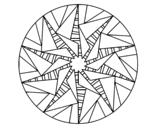 Desenho de Mandala sol triangular para colorear