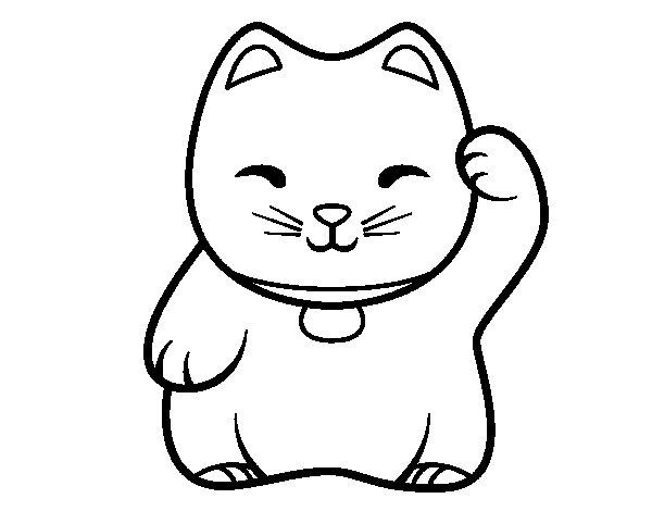 Desenho de Maneki-neko branco para Colorir