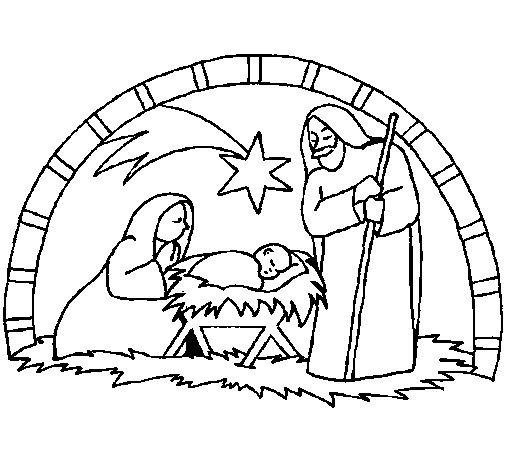 Desenho de Manjedoura de natal para Colorir