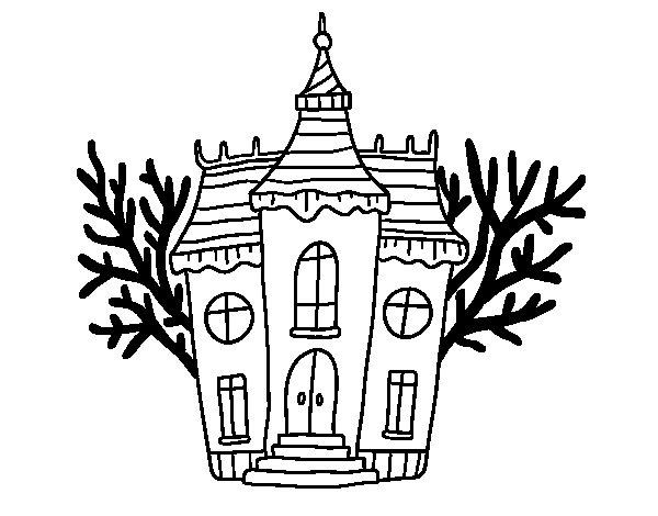Desenho de Mansão assombrada de Halloween para Colorir