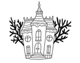 Desenho de Mansão assombrada de Halloween para colorear