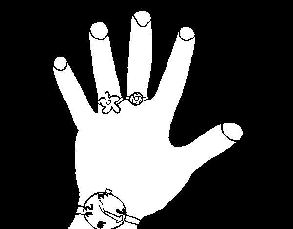 Desenho de Mão com acessórios para Colorir