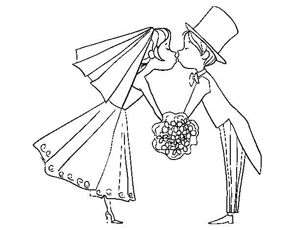 Desenho de Marido e mulher se beijando para Colorir