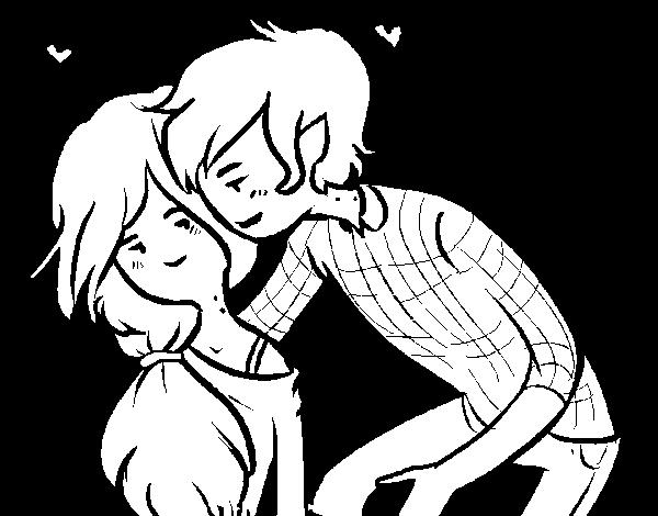 Desenho de Marshall Lee e Marceline para Colorir
