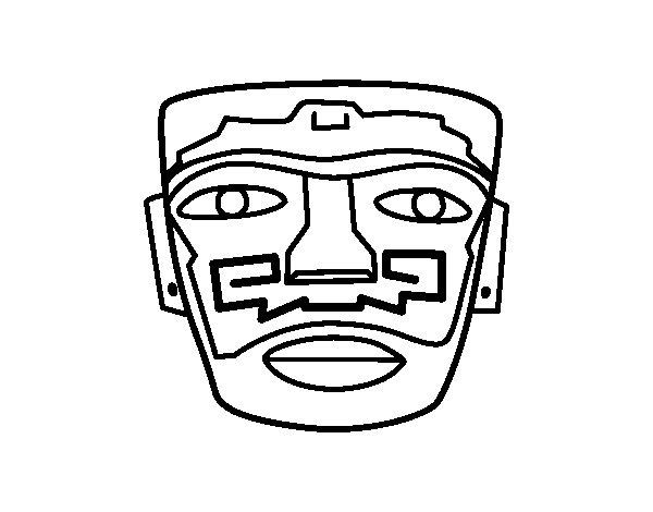 Desenho de Máscara ancestral Aztec para Colorir