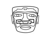 Desenho de Máscara ancestral Aztec para colorear