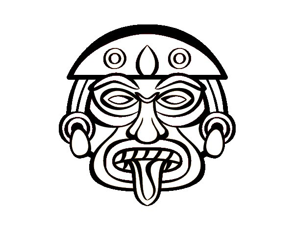 Desenho de Máscara asteca para Colorir