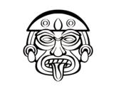 Desenho de Máscara asteca para colorear