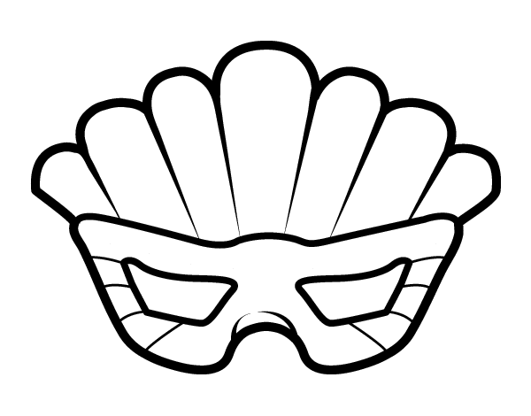 Desenho de Máscara com plumas para Colorir
