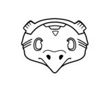 Desenho de Máscara mexicana de pássaro para colorear