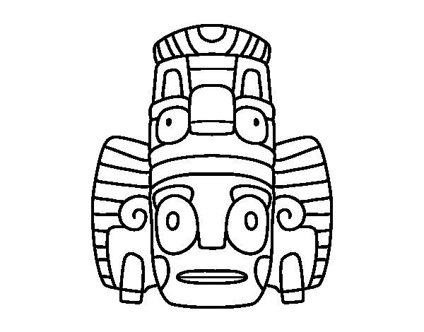 Desenho de Máscara mexicana dos rituais  para Colorir