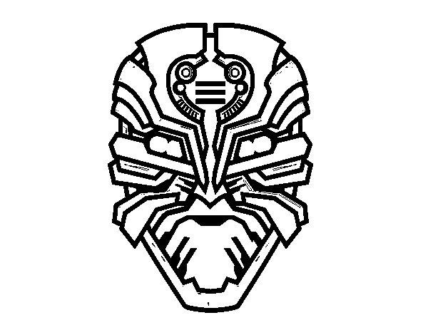 Desenho de Máscara robô alien para Colorir