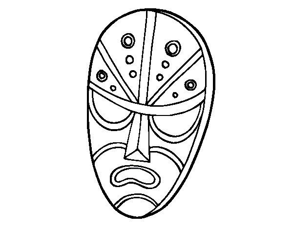 Desenho de Máscara zangada para Colorir