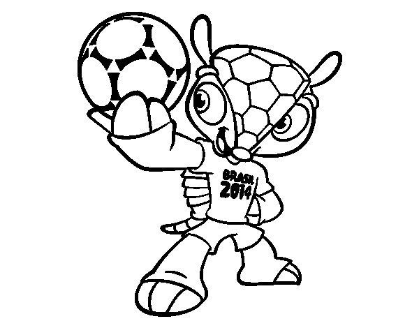 Desenho de Mascote Fuleco para Colorir
