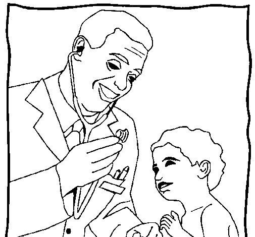 Desenho de Médico com o estetoscópio para Colorir