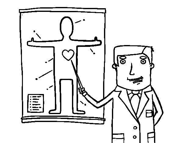 Desenho de Médico explicando para Colorir
