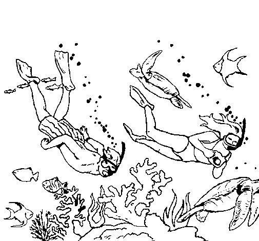Desenho de Megulhadores para Colorir