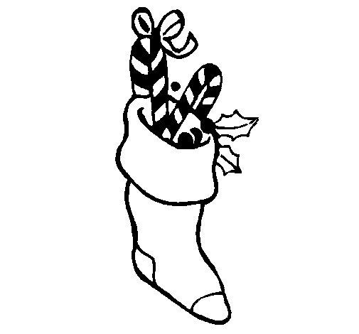 Desenho de Meia com caramelos para Colorir