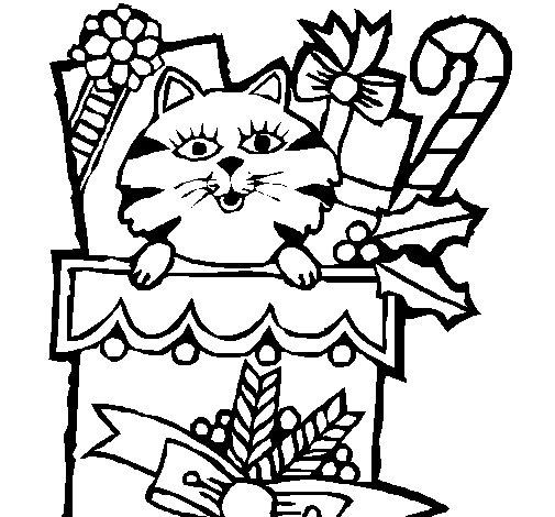Desenho de Meia com presentes para Colorir