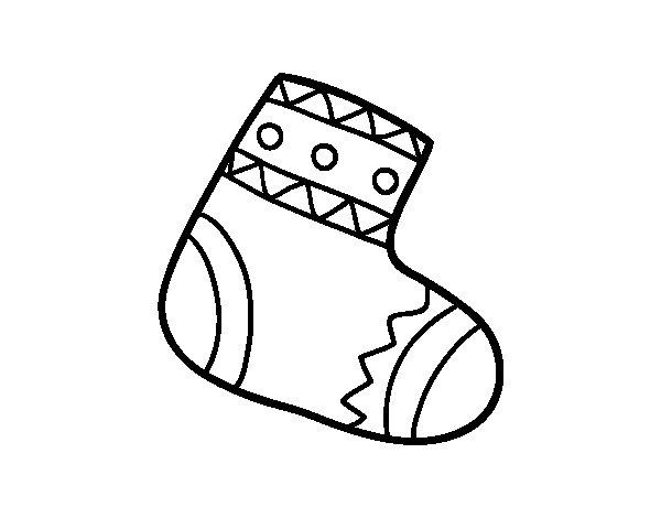 Desenho de Meia do Natal para Colorir