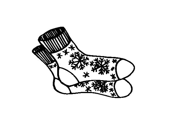 Desenho De Meias De Inverno Para Colorir