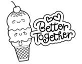 Desenho de Melhor juntos para colorear