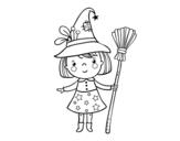 Dibujo de Menina bruxa do Halloween