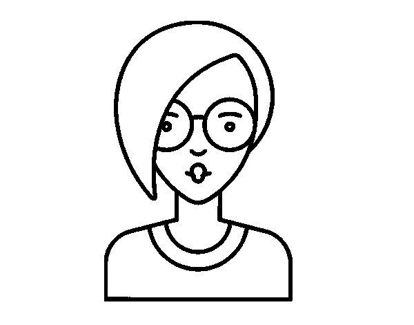 Desenho de Menina com cabelo curto para Colorir