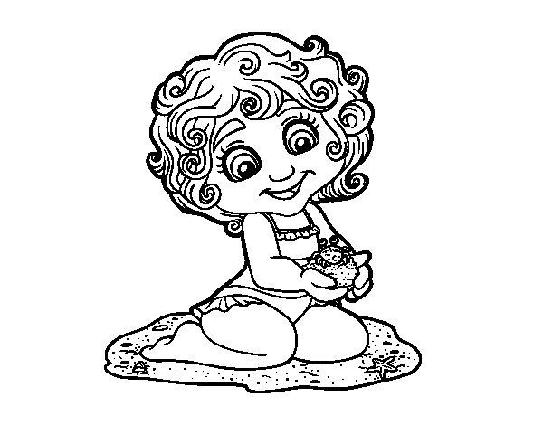 Desenho de Menina com caranguejo para Colorir