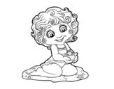 Desenho de Menina com caranguejo para colorear