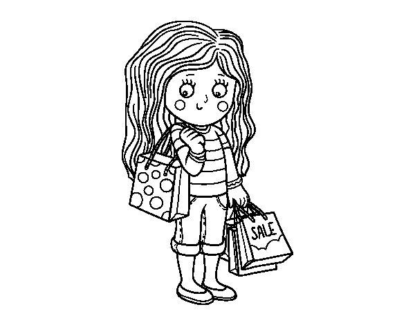 Desenho de Menina com compras do verão  para Colorir