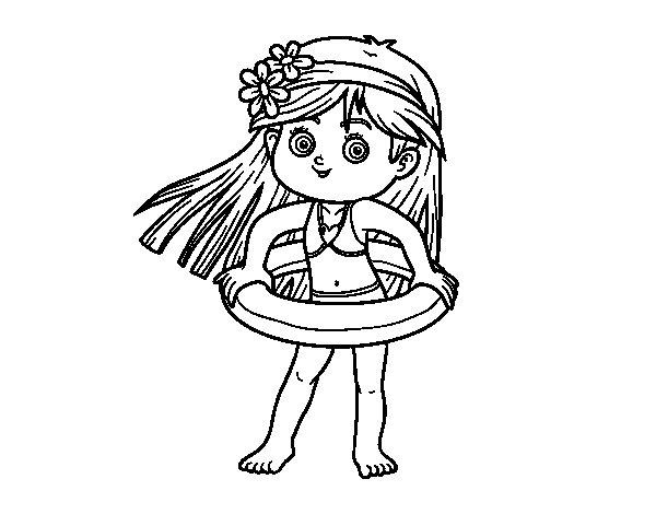 Desenho de Menina com flutuador para Colorir