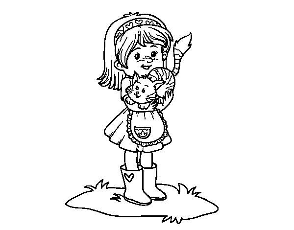 Dibujos De Niña Para Colorear E Imprimir: Desenho De Menina Com Gatito Para Colorir