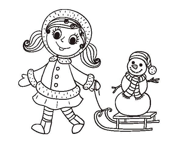 Desenho De Menina Com O Trenó E Boneco De Neve Para