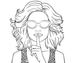 Desenho de Menina com óculos de sol para colorear