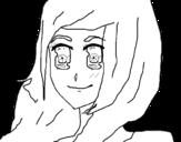 Desenho de Menina com olhar feliz para colorear