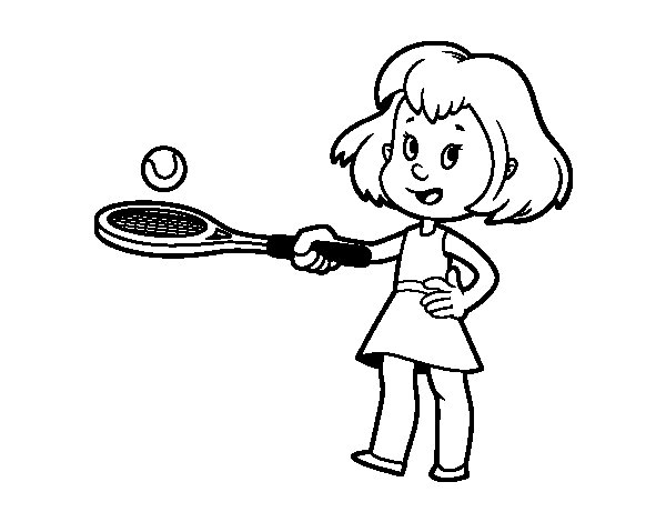 Desenho de Menina com raquete para Colorir