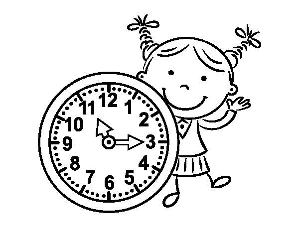 Desenho de Menina com relógio para Colorir