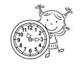 Desenho de Menina com relógio para colorear