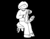 Dibujo de Menina com trompeta