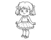 Desenho de Menina com vestido moderno para colorear