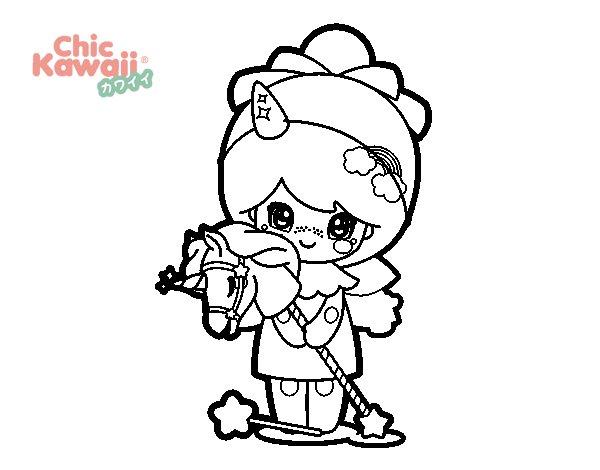 Desenhos Kawaii Para Colorir: Desenho De Menina Disfarçada Kawaii Para Colorir