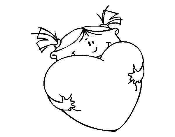 Desenho de Menina e coração para Colorir