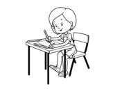 Desenho de Menina em sua mesa para colorear